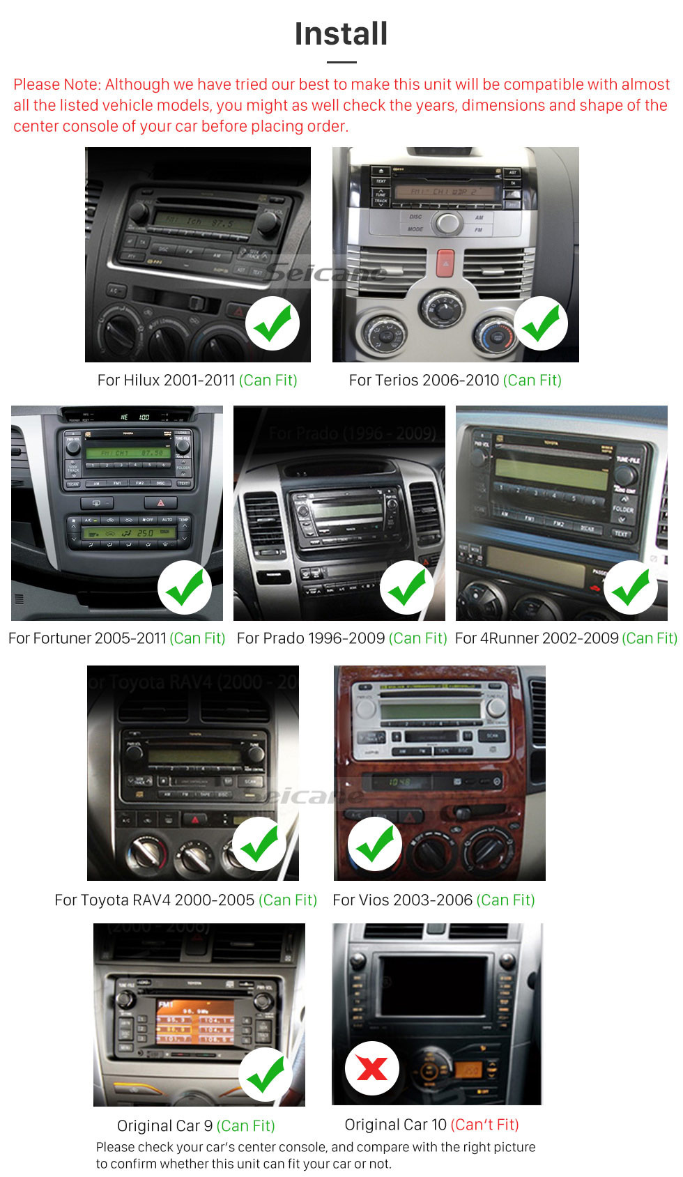 Seicane 2 Din Android 9.0 radio Navigation System For 2001-2011 TOYOTA HILUX with HD Touch Screen CD DVD Player Bluetooth WiFi 3G Mirror Link OBD2 Steering Wheel Control USB SD