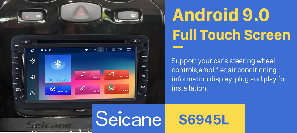 Seicane Aftermarket Navigation Radio Android 9.0 DVD Player for 2010-2016 Renault Duster Bluetooth Music USB SD WIFI 1080P Aux Head Unit Support HD TV DVR Backup Camera
