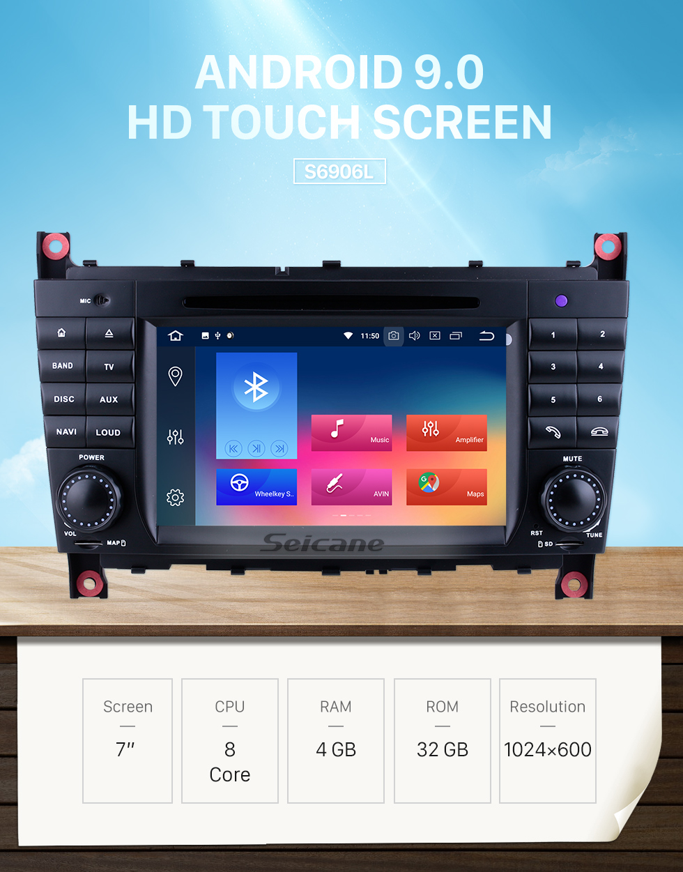 Seicane Aftermarket Radio Android 9.0 7 Inch DVD Player For 2004-2007 Mercedes Benz C Class W203 C180 C200 C220 C230 Car Stereo GPS Navigation System Bluetooth Phone WIFI Support 1080P Video OBDII DVR Steering Wheel Control