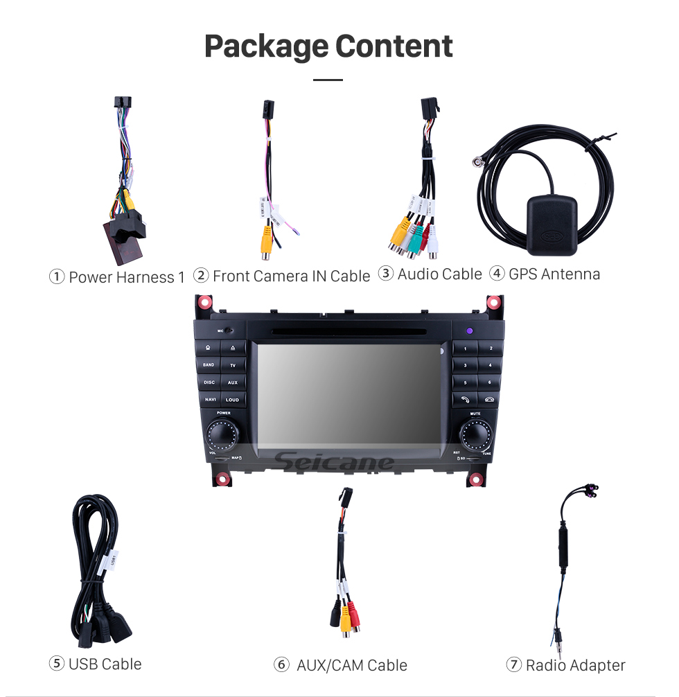 Seicane In Dash DVD Player 7 Inch Android 9.0 Radio For 2004-2011 Mercedes Benz CLK Class W209 CLK270 CLK320 CLK350 CLK500 CLK550 GPS Navigation Bluetooth Phone Music WIFI Support Mirror Link Backup Camera DVR OBD2 TPMS Digital TV Steering Wheel Control