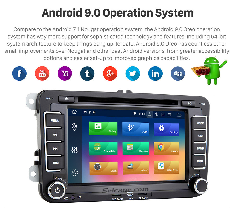 Seicane 7 inch 2006-2012 VW VOLKSWAGEN MAGOTAN HD Touchscreen Radio Android 9.0 GPS Navigation with Bluetooth Music USB Audio Aux WIFI Mirror Link Steering wheel control