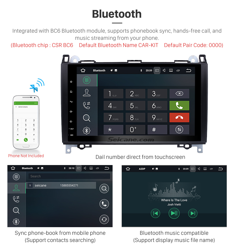 Seicane 9 inch Android 8.0 Radio GPS Navigation Stereo for 2006-2012 Mercedes Benz Viano Vito Bluetooth Music Support MP3 WIFI DVR USB Backup Camera Steering Wheel Control