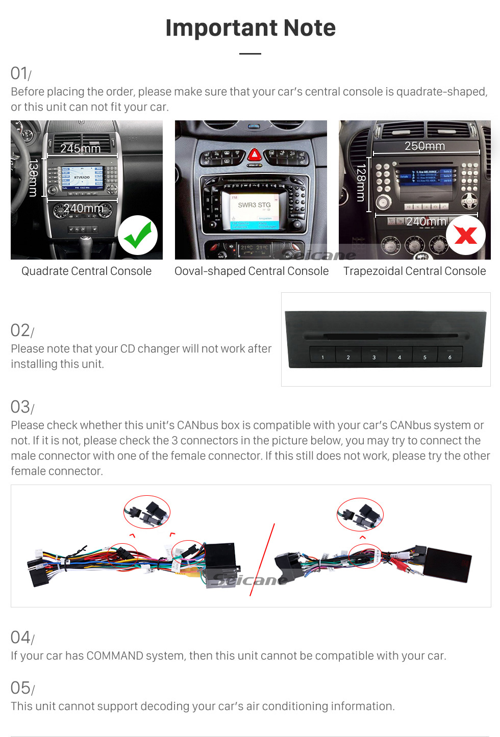 Seicane Aftermarket Navigation Android 8.0 GPS Radio Stereo Upgrade for 2004 2005 2006 2007-2012 Mercedes Benz B Class W245 B150 B160 B170 B180 B200 B55 Bluetooth WIFI Mirror Link 1080P Video Multimedia Player Support Steering Wheel Control Backup Camera OBD2