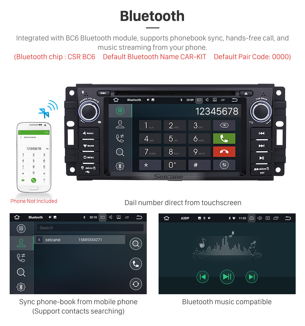 Seicane OEM 2007 2008 2009 2010 Jeep Wrangler Unlimited Android 9.0 Radio GPS Navi DVD Player Stereo Upgrade with Bluetooth WIFI 1080P Video USB SD Mirror Link Steering Wheel Control