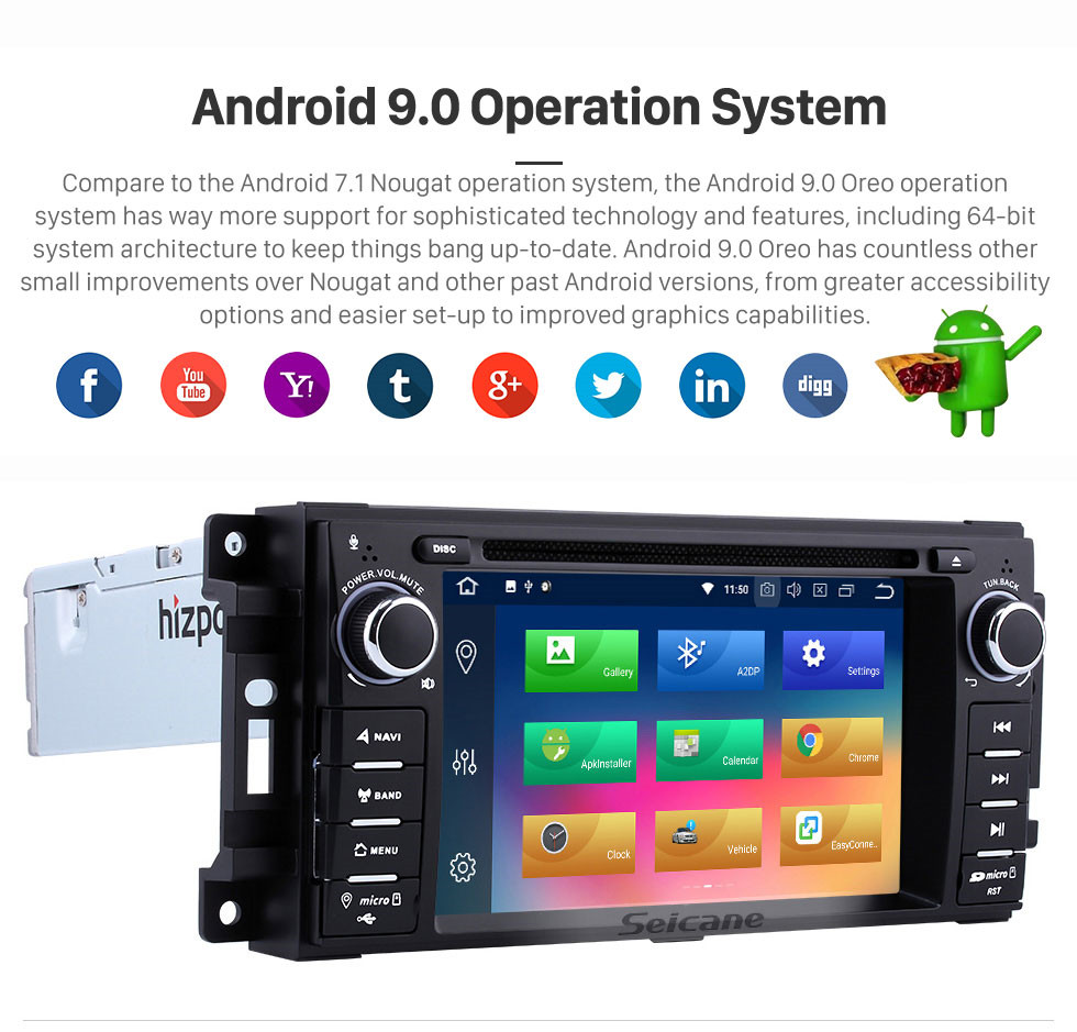 Seicane OEM Pure Android 9.0 Capacitive Touch Screen Satellite Navigation System for 2009 2010 2011 2012 DODGE RAM Pickup Trucks Avenger Caliber Challenger Dakota Durango with 3G WiFi Bluetooth Radio Mirror Link OBD2
