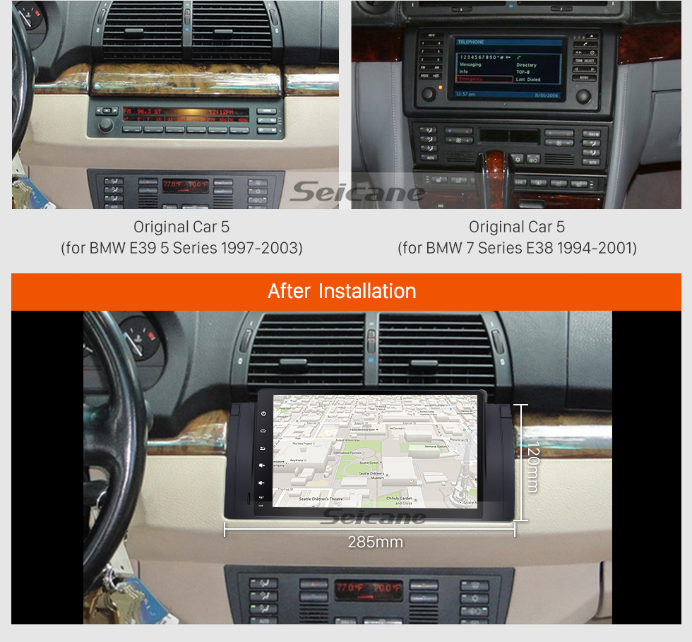 Seicane Android 9.0 1996 1997 1998 1999 2000-2003 BMW 5 Series E39 520i 523i 525i M5 9 inch HD touchscreen 1024*600 Car Stereo GPS System with Bluetooth Radio RDS Tuner WiFi Mirror Link