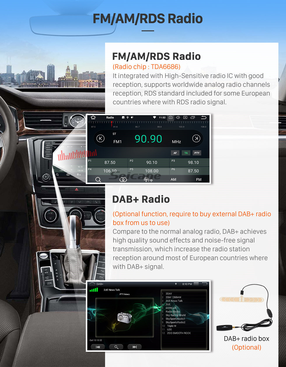 Seicane All-in-one Android 9.0 Radio for 2005 onwards Alfa Romeo 159 Sportwagon with DVD Player GPS Navigation Head Unit HD Touch Screen Bluetooth Music Mirror Link OBD2 AUX 3G WiFi Video