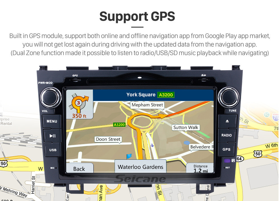 Seicane 8 inch 2006-2011 Honda CRV Radio Replacement with Android 9.0 Aftermarket Sat Nav System 1024*600 Multi-touch Capacitive Screen Bluetooth WiFi Mirror Link OBD2 1080P AUX DVR