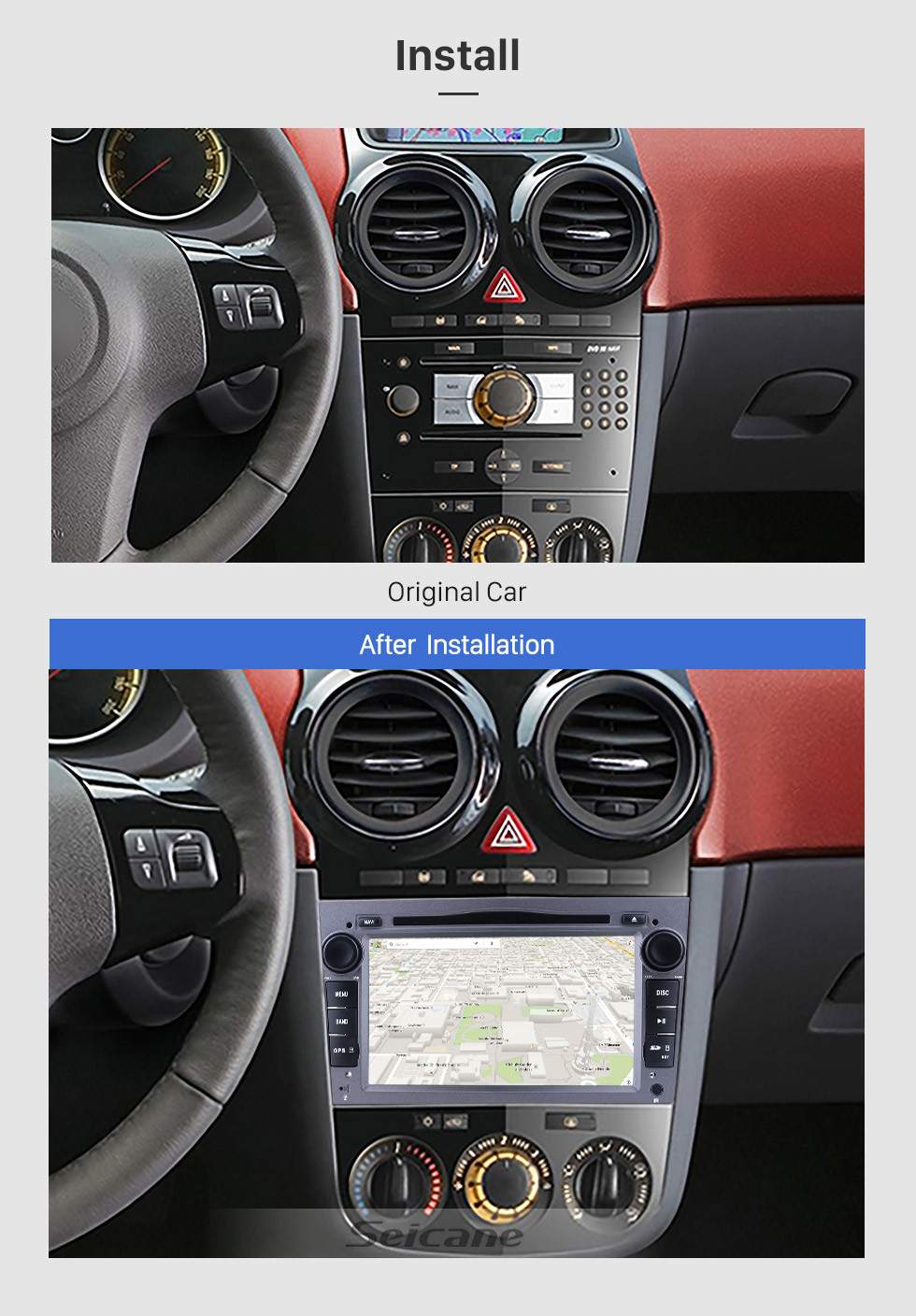 Seicane 7 inch Android 9.0 2005-2012 Opel Antara HD 1024*600 Touch Screen in Dash GPS Radio Bluetooth System with CD DVD Player 3G WiFi 1080P Steering Wheel Control AUX Mirror Link OBD2 1080P