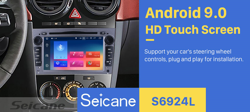 Seicane OEM Android 9.0 2005-2009 Opel Vectra GPS Radio Replacement with HD 1024*600 Touch Screen Bluetooth Music MP3 3G WiFi DVD Player 1080P AUX Steering Wheel Control Backup Camera