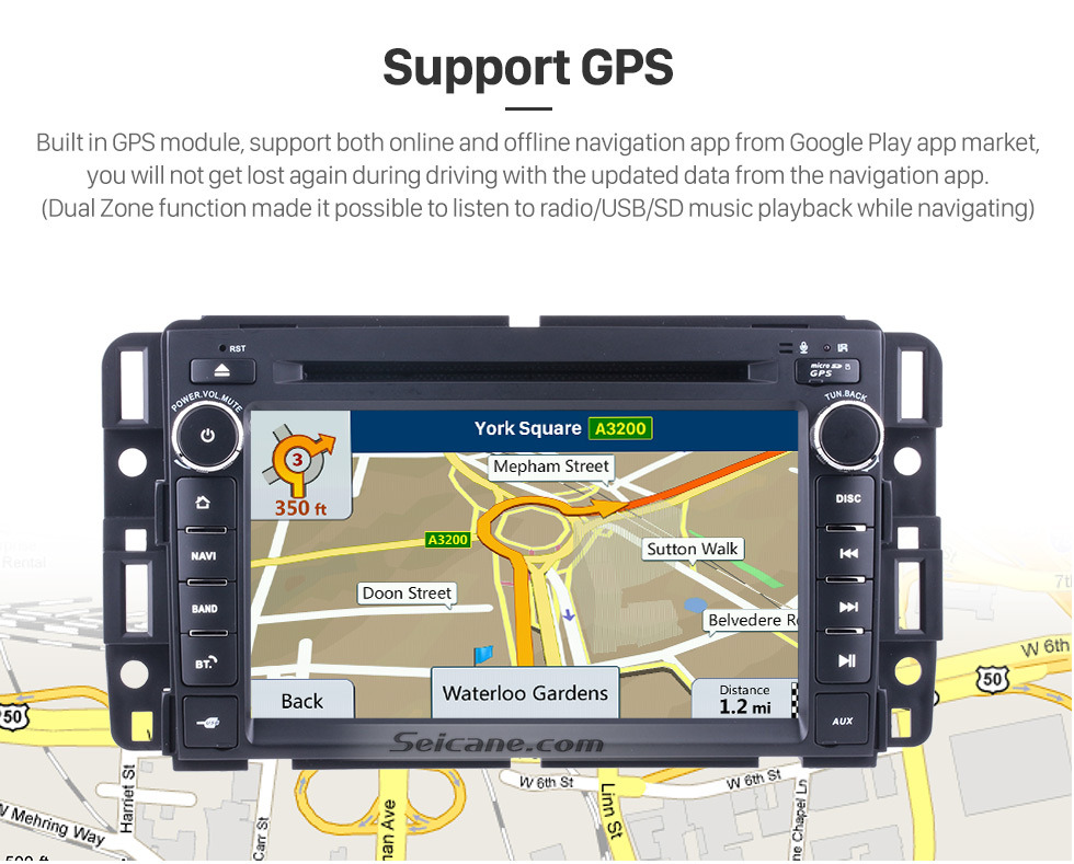 Seicane Android 9.0 Aftermarket DVD Player GPS Navigation System For 2007-2012 Chevy Chevrolet Tahoe Suburban Express VAN  Support Radio Bluetooth WIFI Rearview Camera TV Tuner USB SD 1080P Video DVR