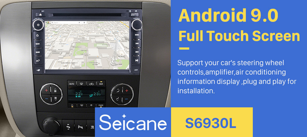 Seicane Android 9.0 HD 1024*600 touchscreen Radio GPS for 2007-2012 GMC Chevy Chevrolet Tahoe Suburban Traverse with DVD Player GPS Navigation System WiFi Bluetooth Rearview  Camera Mirror Link