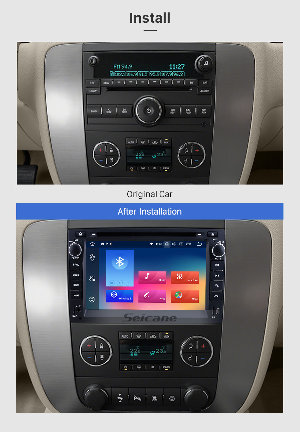 Seicane OEM 2007-2013 GMC Yukon Tahoe Acadia Chevy Chevrolet Tahoe Suburban Buick Enclave Android 9.0 Radio Removal with Autoradio GPS Navigation Car A/V System 1024*600 Multi-touch Capacitive Screen Mirror Link OBD2 3G WiFi