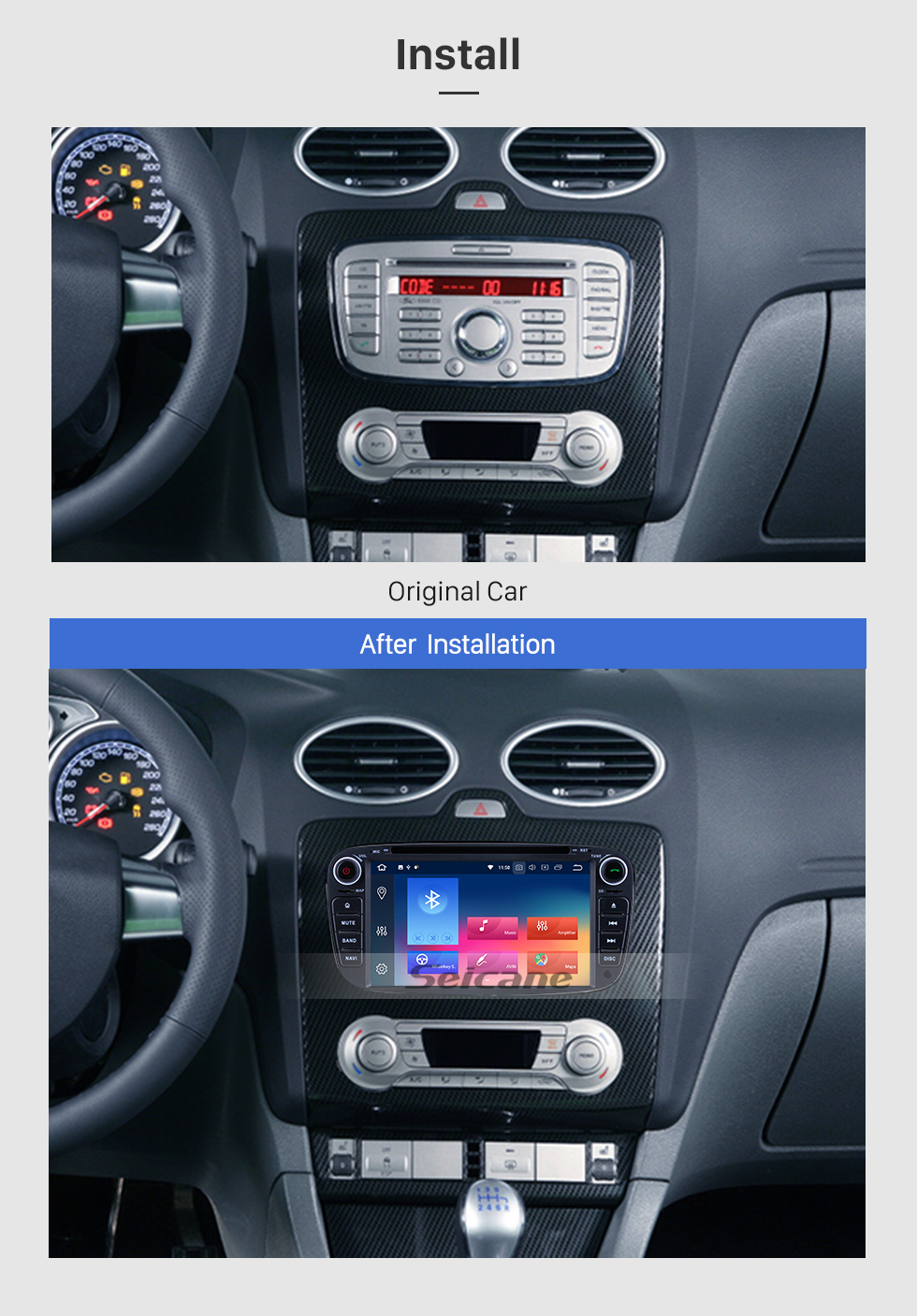 Seicane Android 9.0 2010 FORD TRANSIT CONNECT Radio GPS Car DVD Player with 3G WiFi Bluetooth Mirror Link OBD2 Backup Camera HD 1080P Video Steering Wheel Control MP3 AUX