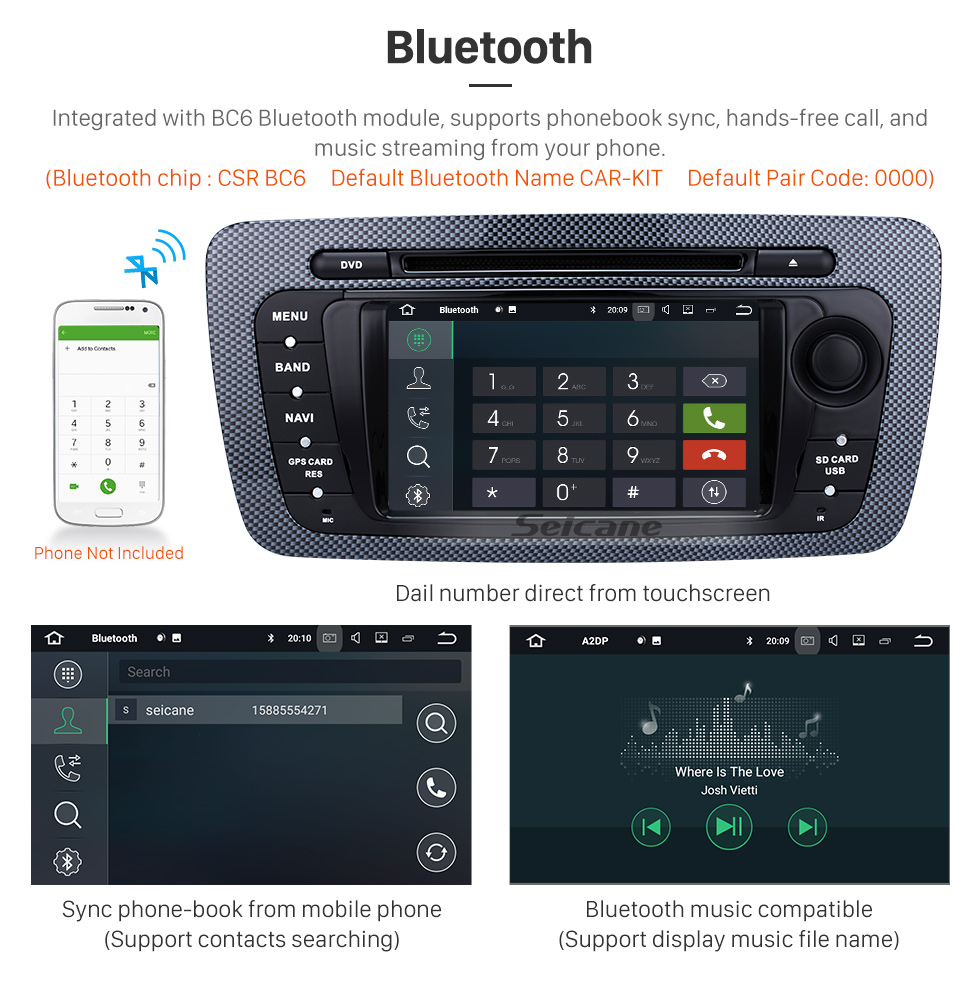 Seicane 2009-2013 Seat Ibiza Android 8.0 In Dash DVD Navigation System with Radio Tuner Bluetooth Music Mirror Link OBD2 3G WiFi Backup Camera Steering Wheel Control MP3