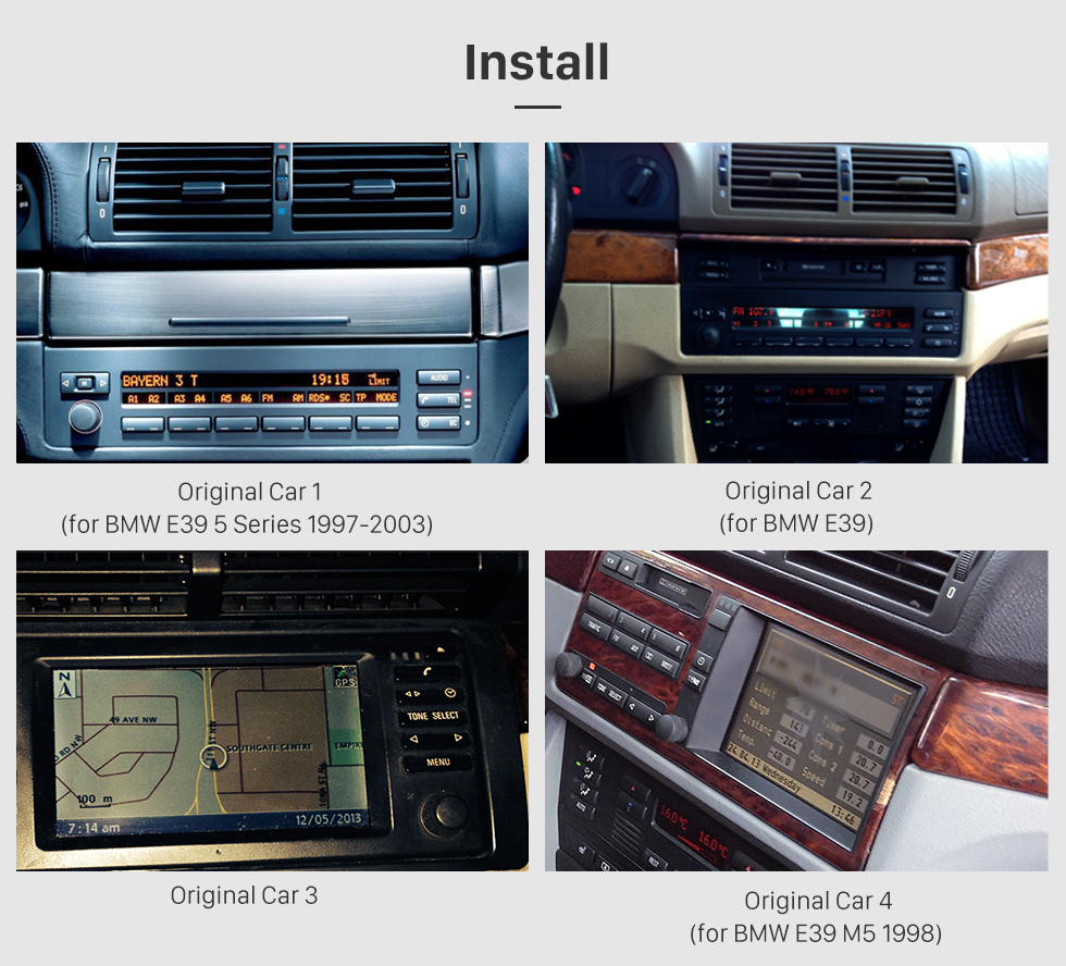 Seicane Android 8.0 1024*600 Touchscreen GPS Radio 1996-2003 BMW 5 Series E39 520i 523i 525i M5 DVD Stereo with WiFi Bluetooth Mirror Link OBD2