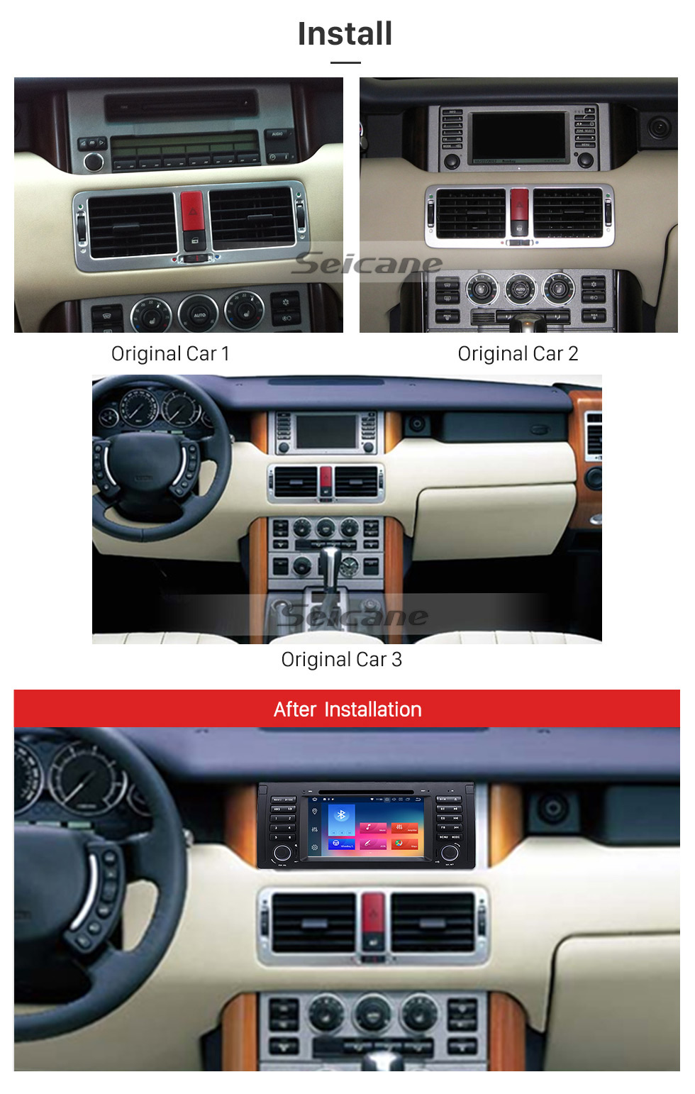 Seicane Android 8.0 Car Stereo DVD GPS System for 2002 2003 2004 Range Rover with Bluetooth Radio Tuner 3G WiFi Mirror Link OBD2 Rearview Camera DVR
