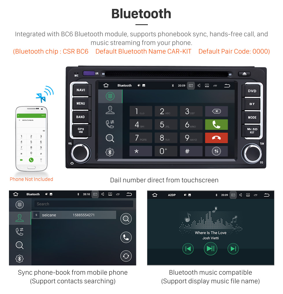 Seicane Android 8.0 Touchscreen Radio GPS Navigation System For 2001-2011 TOYOTA HILUX with CD DVD Player Bluetooth Music Mirror Link WIFI Steering Wheel Control USB SD