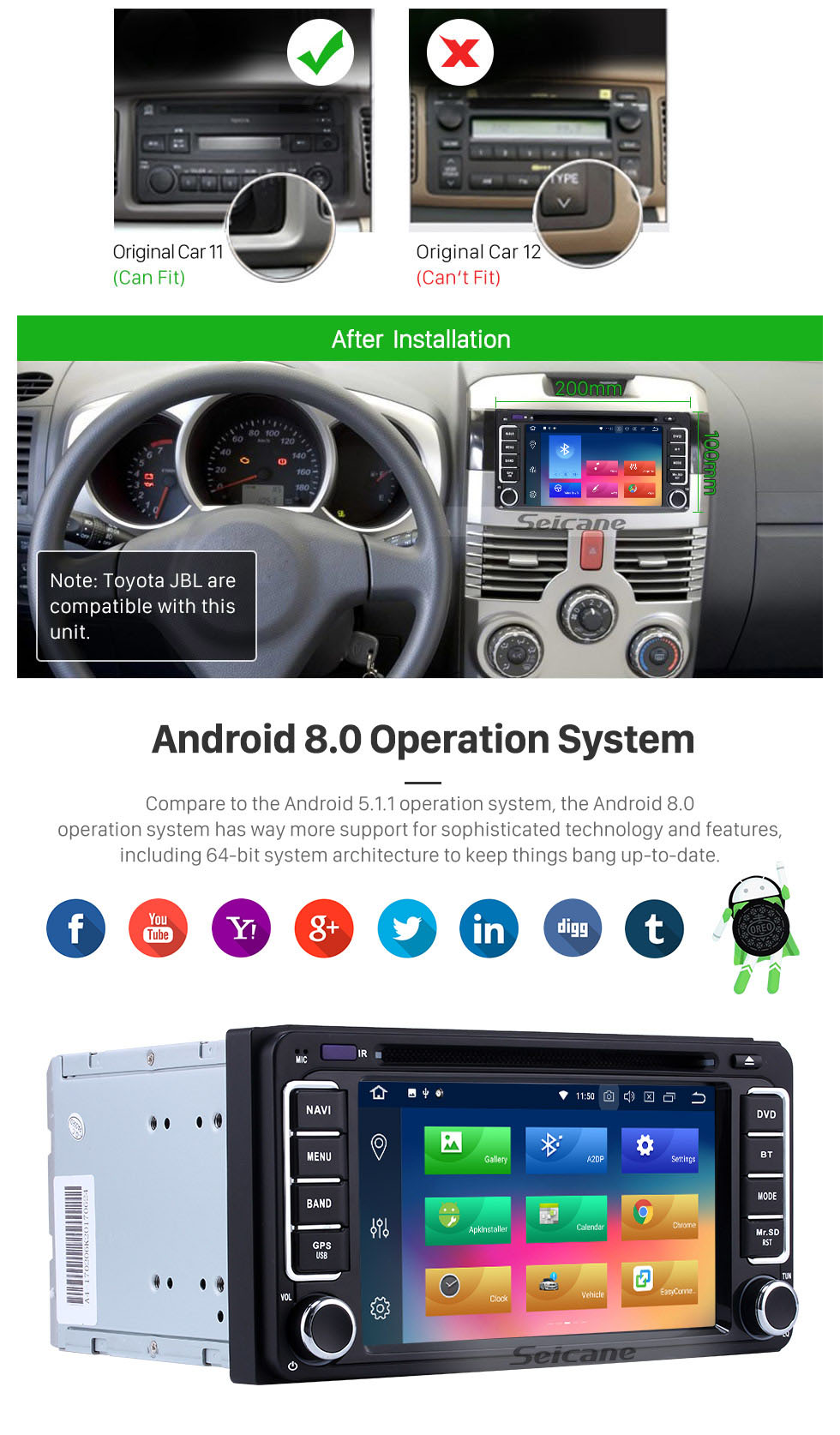 Seicane All-in-one Android 8.0 Touch Screen Radio GPS System for 2001-2011 TOYOTA HILUX with CD DVD Player Bluetooth AUX Mirror Link WiFi 4G OBD2 1080P Mp3 Mp4