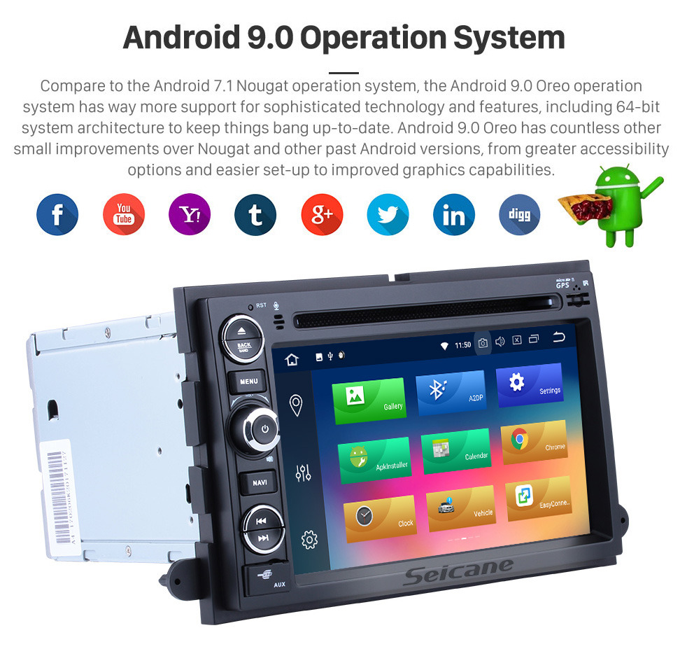 Seicane 7 Inch HD Touchscreen Android 9.0 In Dash Radio  For 2005-2009 Ford Freestyle Mustang DVD Player GPS Navigation System Bluetooth Phone WIFI Support Digital TV DVR USB OBDII Steering Wheel Control