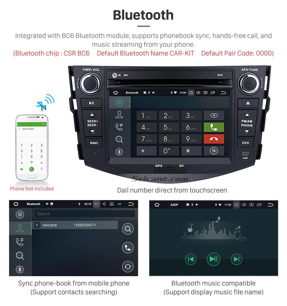 Seicane Android 9.0 Aftermarket Radio for 2006-2012 TOYOTA RAV4 with GPS Navigation HD 1024*600 touchscreen DVD Player Bluetooth WiFi Mirror Link Steering Wheel Control 1080P Video
