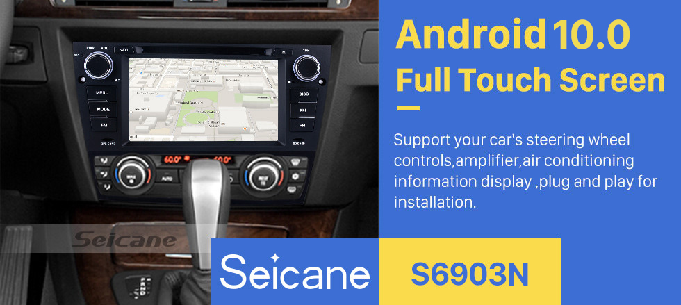 Seicane HD 1024*600 Multi-touch Screen 2005-2012 BMW 3 E90 E91 E92 E93 316i 318i 320i 320si 323i 325i 328i 330i 335i 335is M3 316d 318d 320d 325d 330d 335d Radio Removal with Android 9.0 in Dash Sat Nav Car Stereo System 3G WiFi Bluetooth DVD AUX OBD2