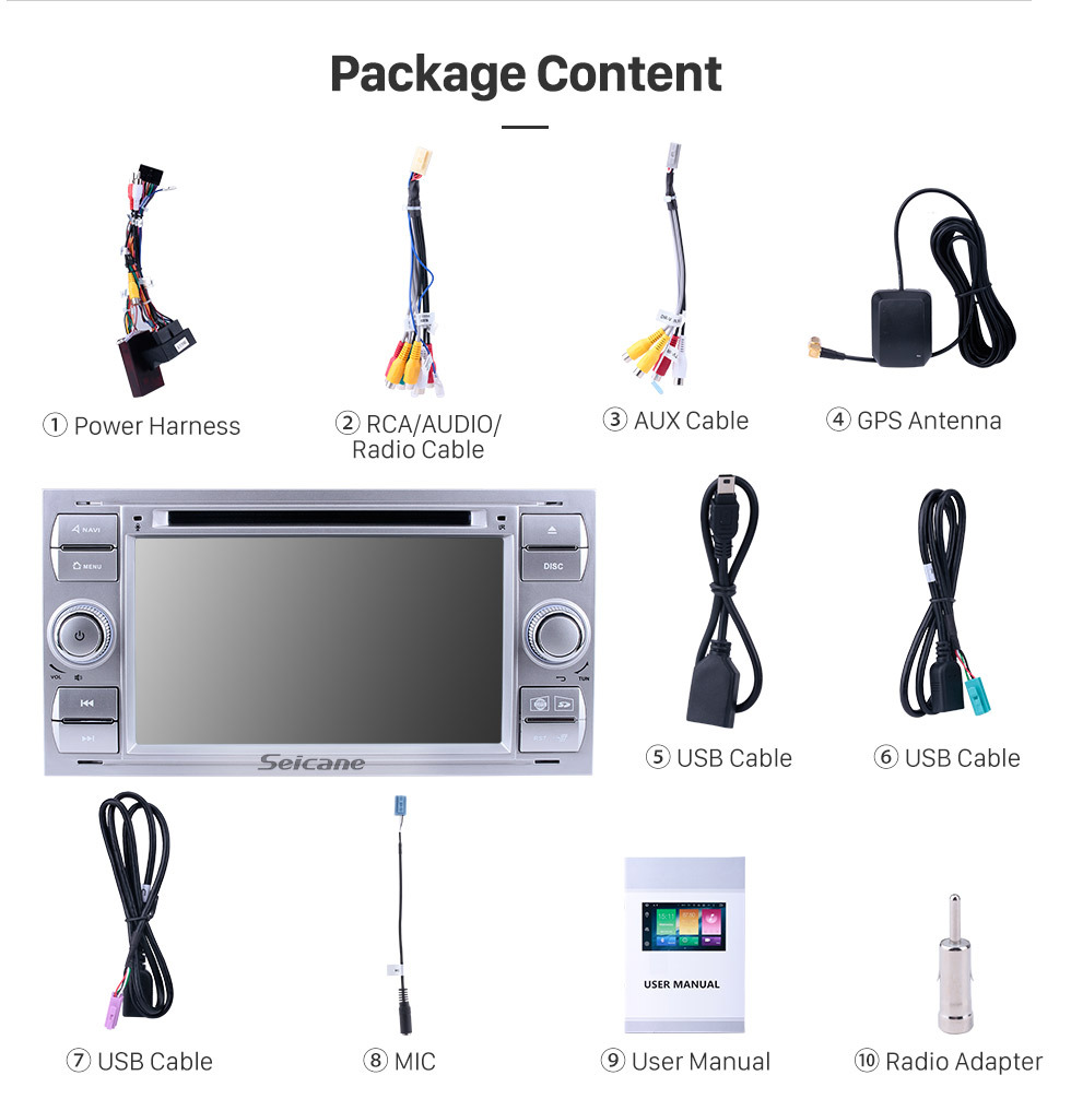 Seicane 2003-2007 Ford Mondeo Android 9.0 Radio  DVD player GPS navigation system HD 1024*600 touch screen Bluetooth OBD2 DVR TV 1080P Video 4G WIFI Steering Wheel Control USB SD backup camera Mirror link