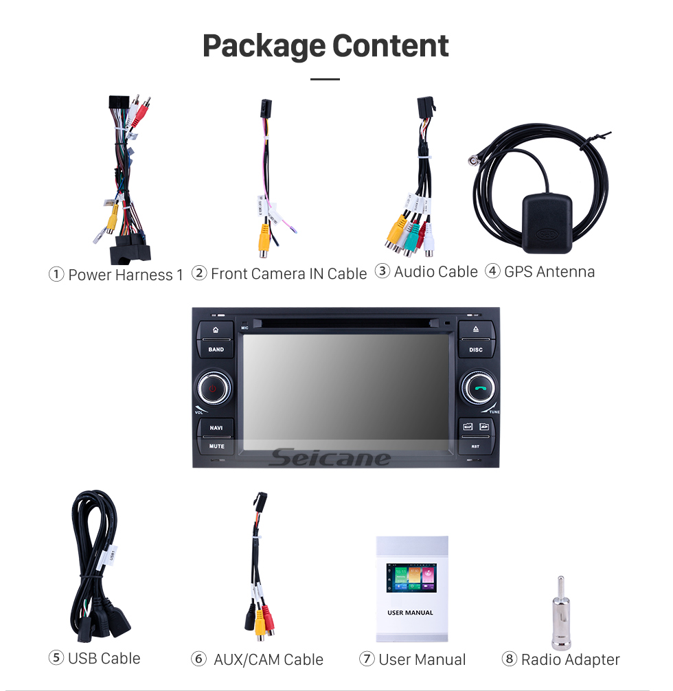 Seicane Android 9.0 GPS navigation system DVD player for 2007 2008 2009 Ford Connect with  Radio HD 1024*600 touch screen Bluetooth OBD2 DVR Rearview camera TV 1080P Video 4G WIFI Steering Wheel Control USB Mirror link