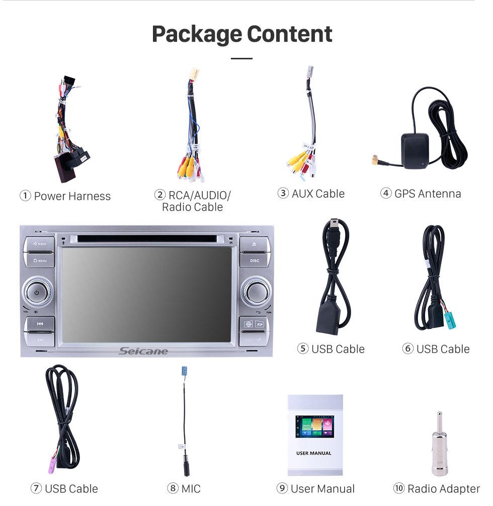 Seicane  Android 9.0 GPS Navigationssystems DVD player für 2007 2008 2009 Ford Connect mit Radio HD 1024*600 touch screen Bluetooth OBD2 DVR Rückfahr kamera TV 1080P Video 4G WIFI  Lenkrad-Steuerung USB Spiegel-Verbindung