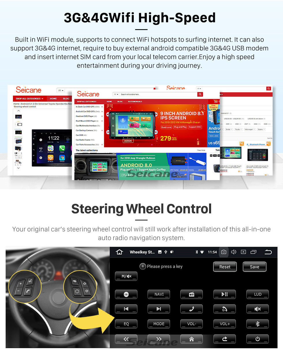 Seicane OEM Android 9.0 navigation system for 2007 2008 2009 Ford C-MAX with GPS  DVD player  Radio HD 1024*600 touch screen OBD2 DVR Rearview camera TV 1080P Video 4G WIFI Steering Wheel Control Bluetooth USB SD Mirror link