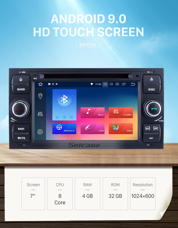 Seicane OEM Android 9.0 Радио GPS DVD Плеер Система Навигации для 2000-2010 Ford FOCUS с Bluetooth HD 1024*600 сенсорным дисплеем OBD2 DVR заднего вида камеры TV 1080P видео 4G WIFI Управление рулевого колеса