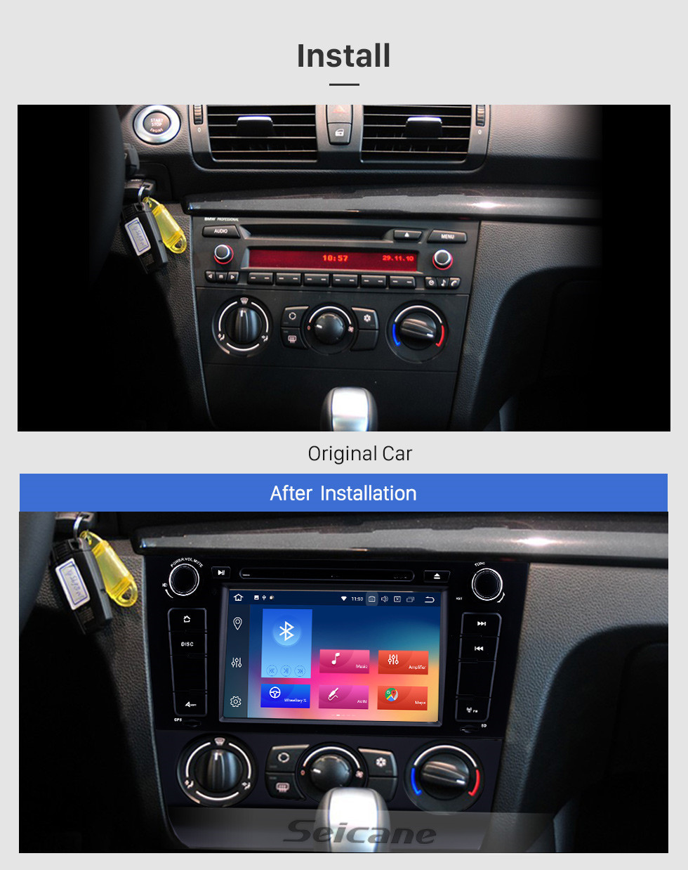 Seicane Android 10.0 HD Touchscreen 1024*600 2004-2012 BMW 1 Series E81 E82 116i 118i 120i 130i with Bluetooth Radio DVD Navigation System AUX WIFI Mirror Link OBD2
