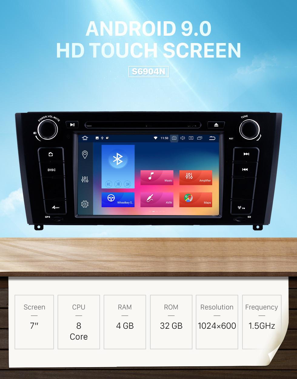 Seicane 7 Zoll Android 10.0 HD Touchscreen 1024 * 600 2004-2012 BMW 1er E81 E82 116i 118i 120i 130i mit Bluetooth Radio DVD Navigationssystem AUX WIFI Spiegel Link OBD2