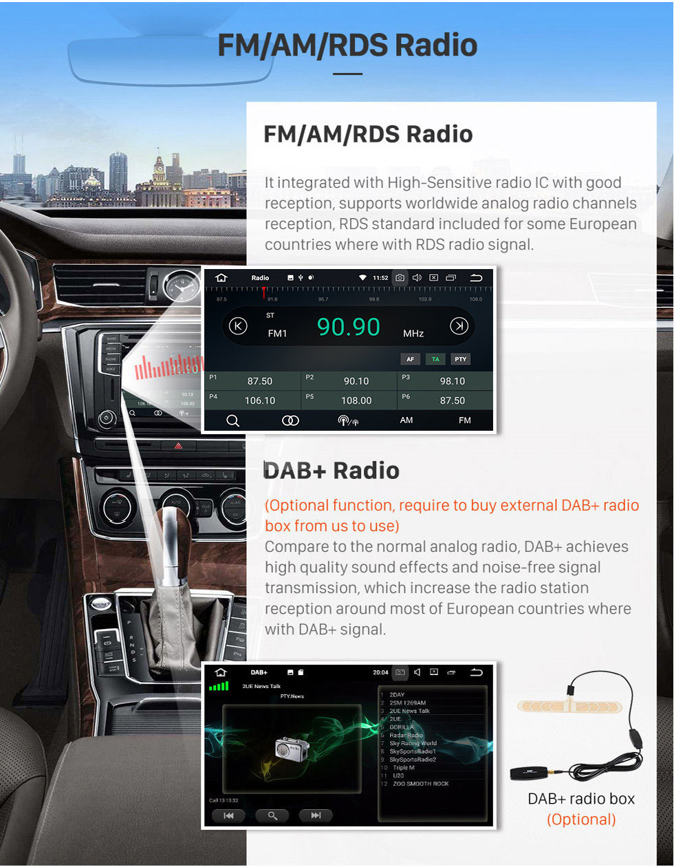 Seicane 7 inch Android 10.0 HD Touchscreen 1024*600 2004-2012 BMW 1 Series E81 E82 116i 118i 120i 130i with Bluetooth Radio DVD Navigation System AUX WIFI Mirror Link OBD2