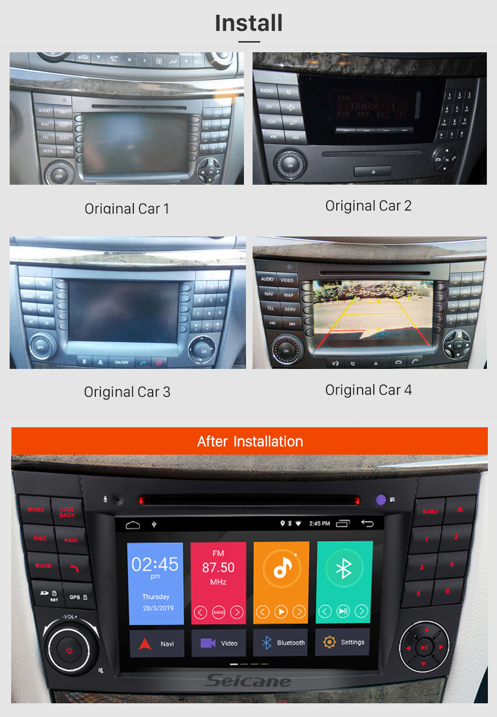 Seicane Android 9.0 7 Inch Car DVD Player for 2004-2011 Mercedes-Benz CLS W219 Touchscreen GPS Navi Bluetooth WIFI