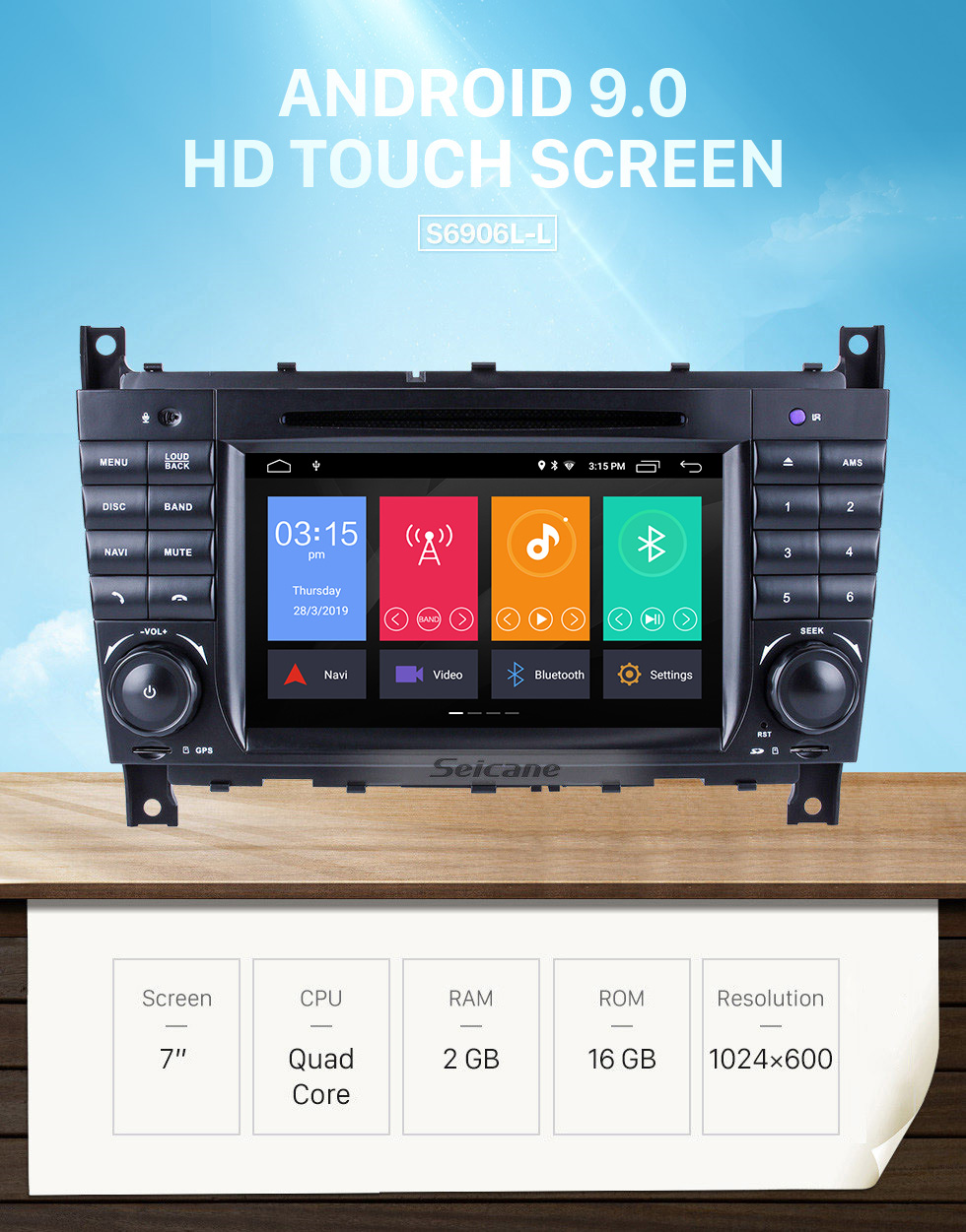 Seicane Android 9.0 Car Radio DVD GPS System for 2004-2007 Mercedes Benz C Class W203 C180 C200 C220 C230 with 3G WiFi AM FM Radio Bluetooth Mirror Link OBD2 AUX DVR