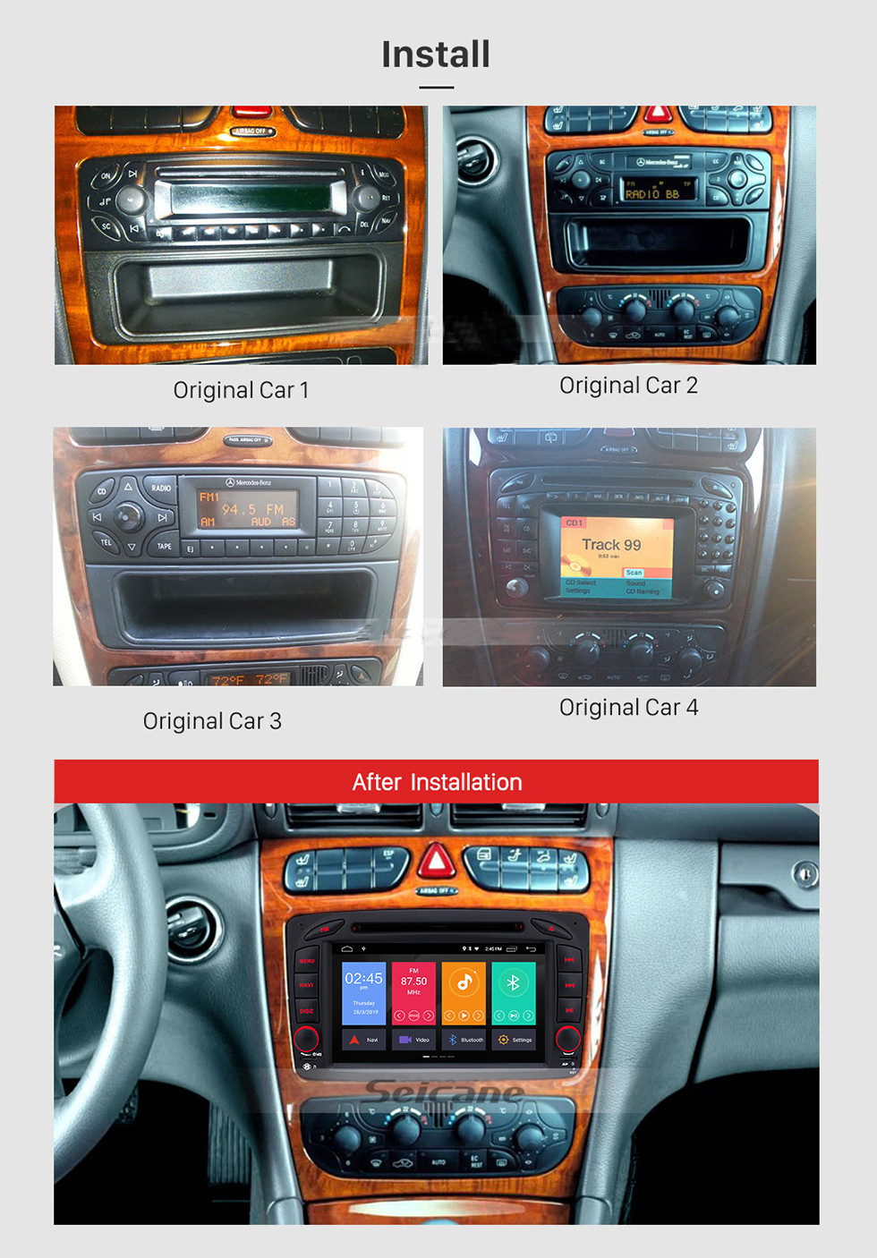 Seicane Android 9.0 7 Inch Touchscreen Car DVD Player for 2004-2011 Mercedes-Benz CLK W209 Bluetooth GPS Navigayion Radio with WIFI Steering Wheel Control