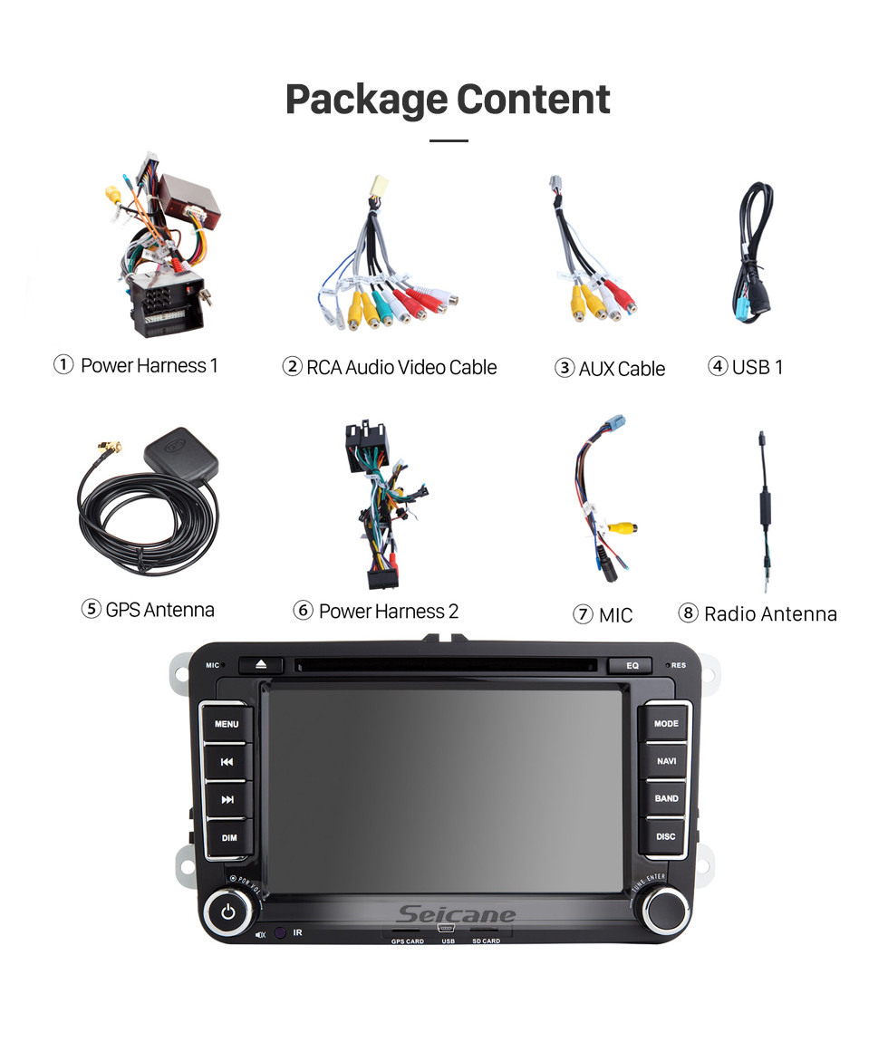 Seicane 7 inch Android 10.0 GPS Navigation for 2006-2012 VW VOLKSWAGEN MAGOTAN HD Touchscreen Radio with Bluetooth Music USB Audio WIFI Steering wheel control