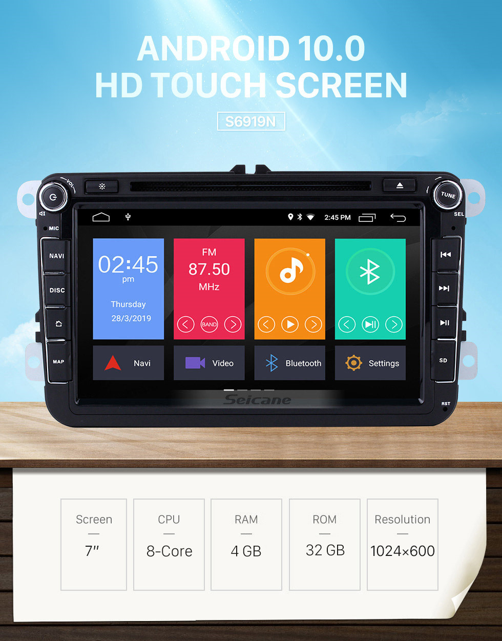 Seicane Android 10.0 8 inch HD Touchscreen DVD Player for 2006-2012 VW VOLKSWAGEN MAGOTAN GPS Navigation Radio USB WIFI Bluetooth Mirror Link 1080P