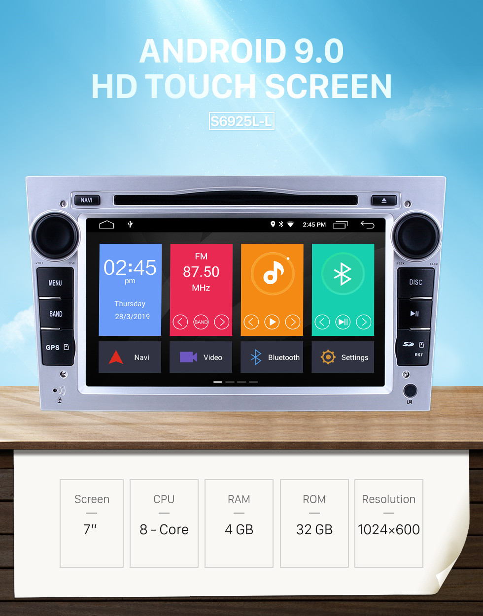 Seicane 2005-2011 Opel Zafira Android 9.0 7 inch Multi-touch Capacitve DVD Player GPS Navi Radio Bluetooth WIFI music Steering Wheel Control