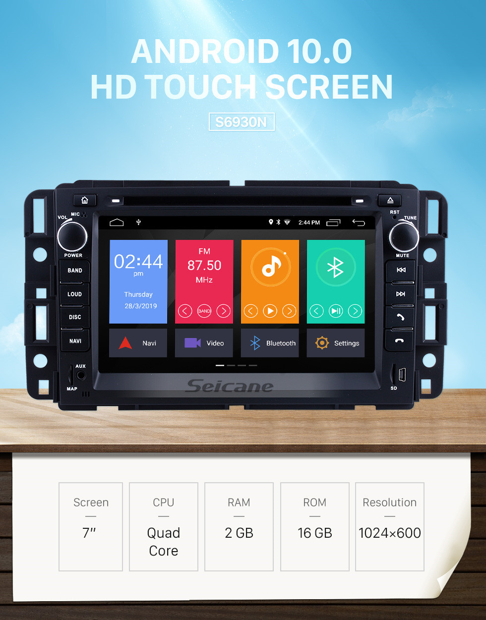 Seicane 2 Din Android 9.0 Radio Head Unit for 2009 2010 2011 GMC Chevy Chevrolet Express VAN Traverse with HD 1024*600 touchscreen GPS Sat Nav DVD Player Audio System WiFi Bluetooth Mirror Link 1080P Video