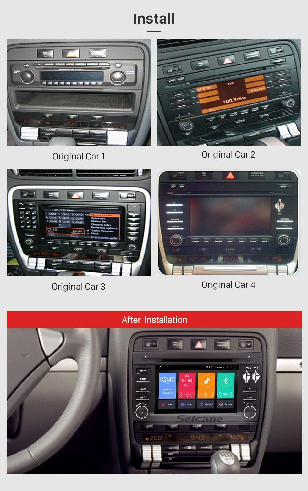 Seicane Android 10.0 Navegación GPS Radio de 7 pulgadas para 2003 2004 2005 2006-2010 Porsche Cayenne Reproductor de DVD para coche Bluetooth Teléfono Espejo Enlace Control del volante