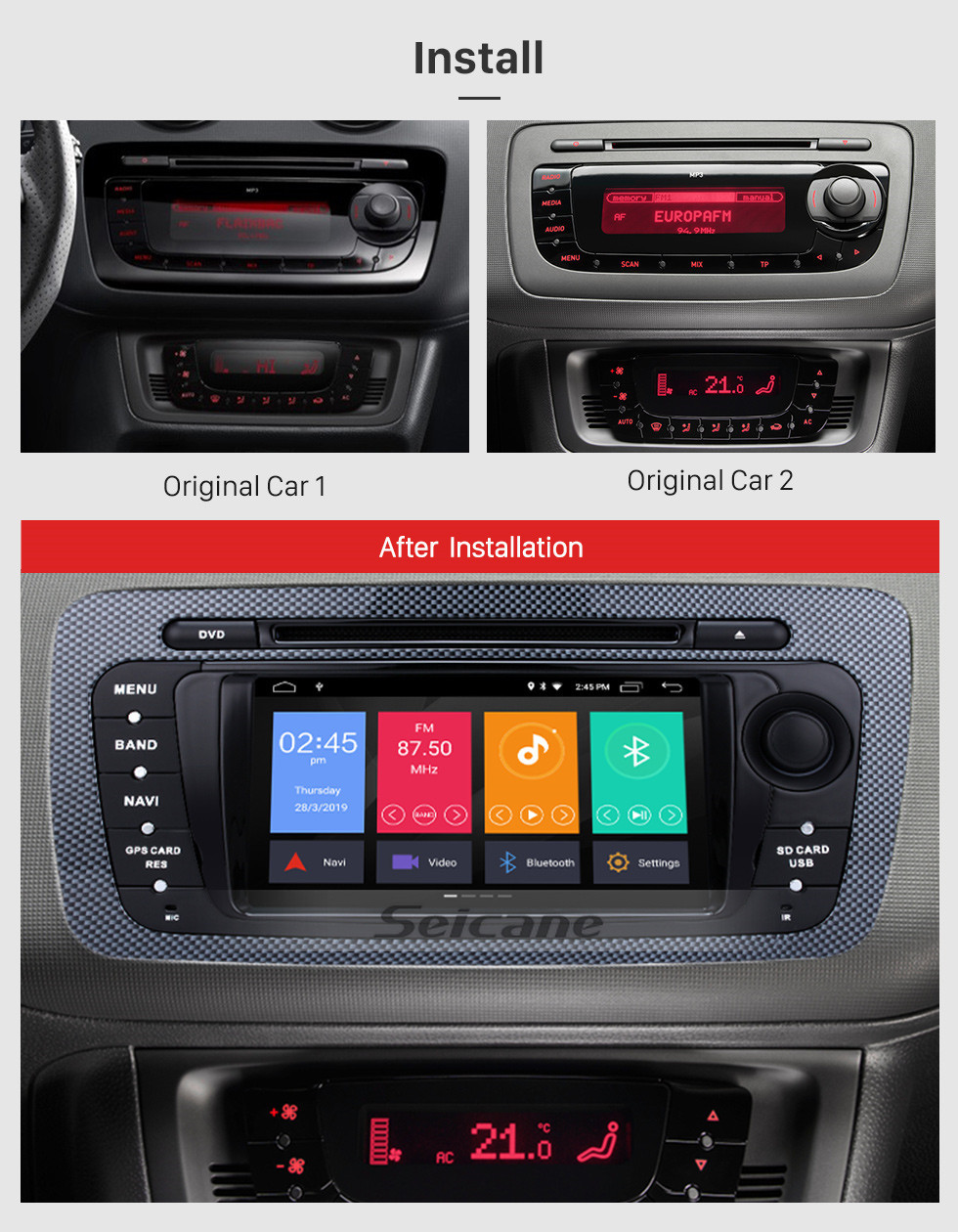 Seicane Cheap Android 10.0 Autoradio DVD GPS System for 2009 2010 2011 2012 2013 Seat Ibiza with 1024*600 Multi-touch Capacitive Screen Bluetooth Music Mirror Link OBD2 3G WiFi AUX Steering Wheel Control Backup Camera