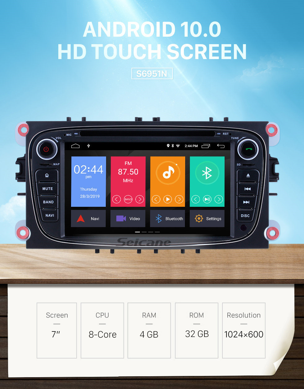 Seicane Android 10.0 1024*600 2008 2009 2010 FORD S-max Radio GPS Navigation DVD Player OBD2 WiFi Bluetooth Mirror Link Backup Camera 1080P Video Steering Wheel Control MP3 AUX USB SD
