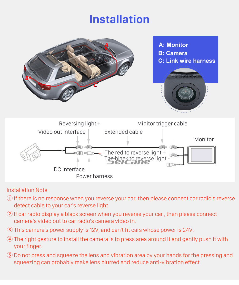 Seicane  HD Rearview LED Camera For 2003 2004 2005 2006 2007 Honda Accord 7 Support Waterproof,Shockproof and clear night vision with no need to drill hole+Automatic white balance