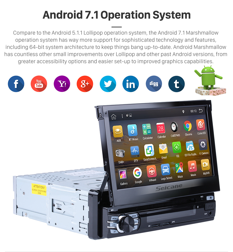 Seicane 7 inch 1 DIN universal HD Touch Screen Android 7.1 Car Stereo Head Unit GPS navigation system Bluetooth 3G WIFI Support OBD2 DVR Rearview camera TV  Mirror link Steering Wheel Control USB