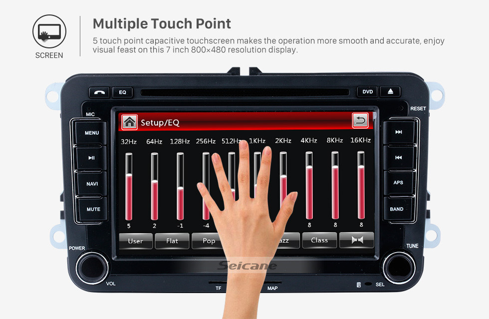 Seicane 7 inch HD Touchscreen 2 Din Universal Radio DVD Player GPS Navigation Car Stereo for VW VOLKSWAGEN Seat Golf Passat with Bluetooth Phone MP3 USB SD Multimedia player Support Aux Digital TV RDS