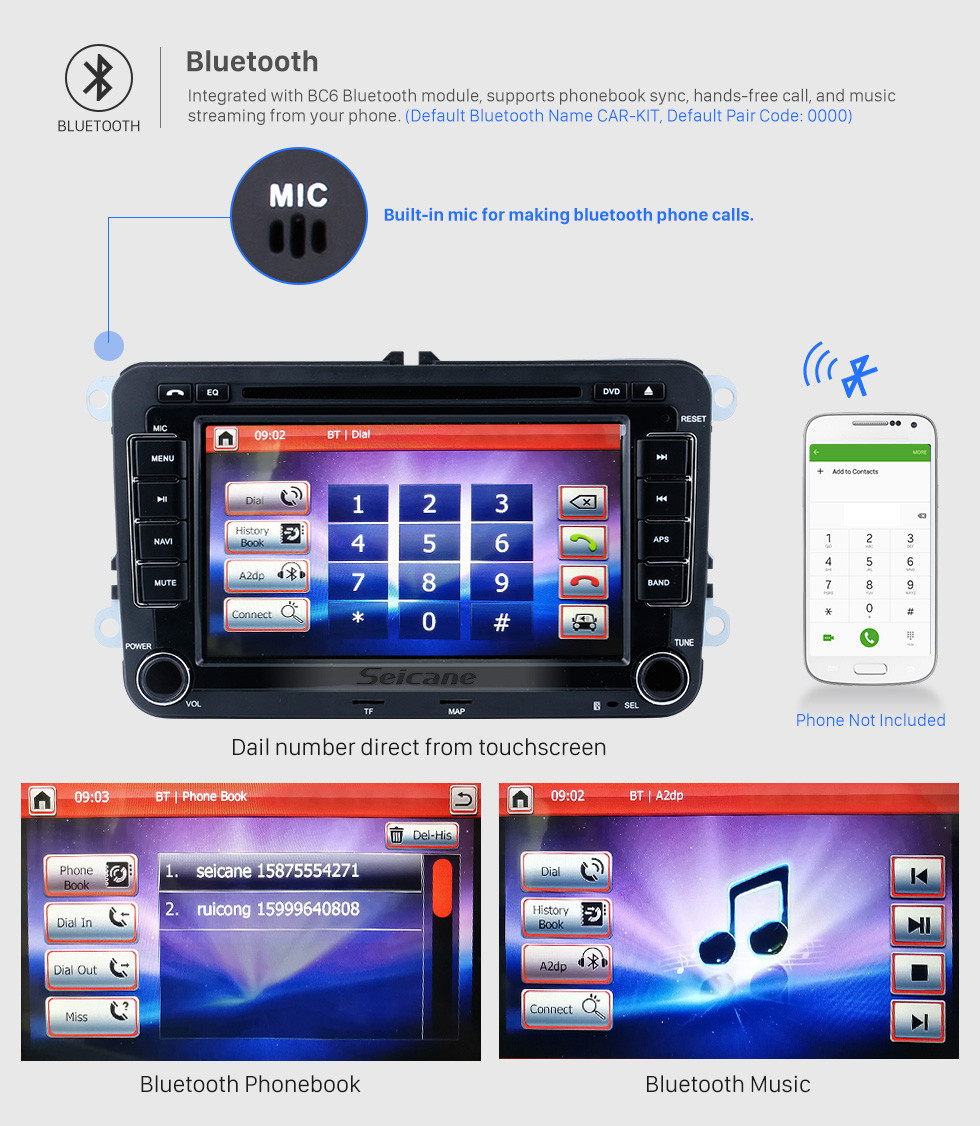Seicane 7 Inch Car Radio DVD Player For 2004-2011 VW Volkswagen Sagitar PASSAT Transporter GPS Navigation Bluetooth Audio system Support Rearview Camera AUX DVR