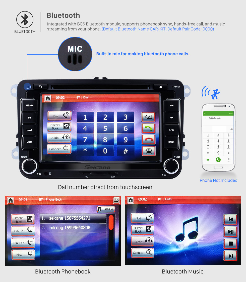 Seicane 2 DIN 7 Inch HD Touchscreen DVD Player For 2003-2013 VW Volkswagen Golf 5 Caddy Touran Passat Jetta SAGITR Car Stereo GPS Navigation Bluetooth Radio Music Support Rear View Camera Steering Wheel Control