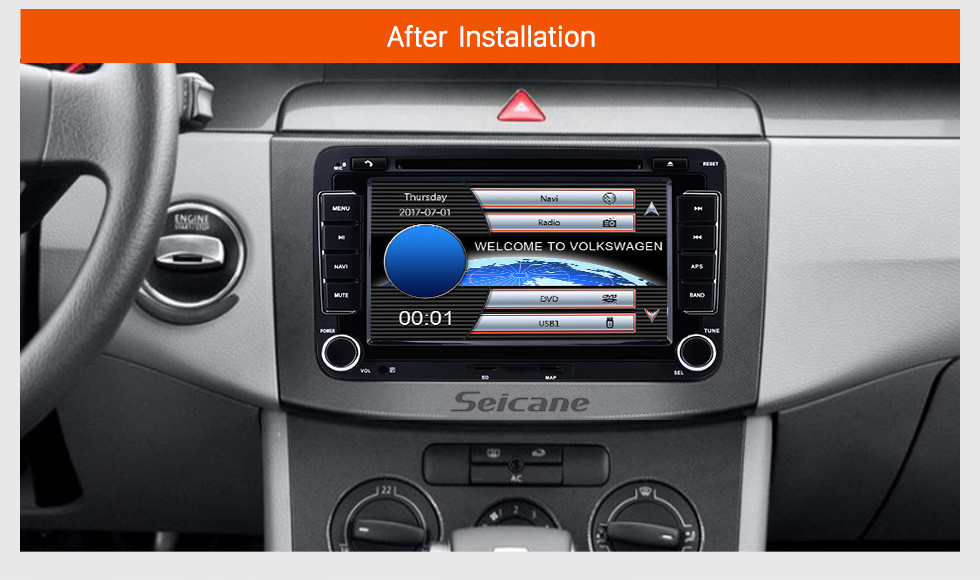 Seicane 2 DIN 7 Inch HD Touchscreen DVD Player For 2003-2013 VW Volkswagen Golf 5 Caddy Touran Passat Jetta SAGITR Car Stereo GPS Navigation Bluetooth Radio Music Support Rear View Camera Steering Wheel Control
